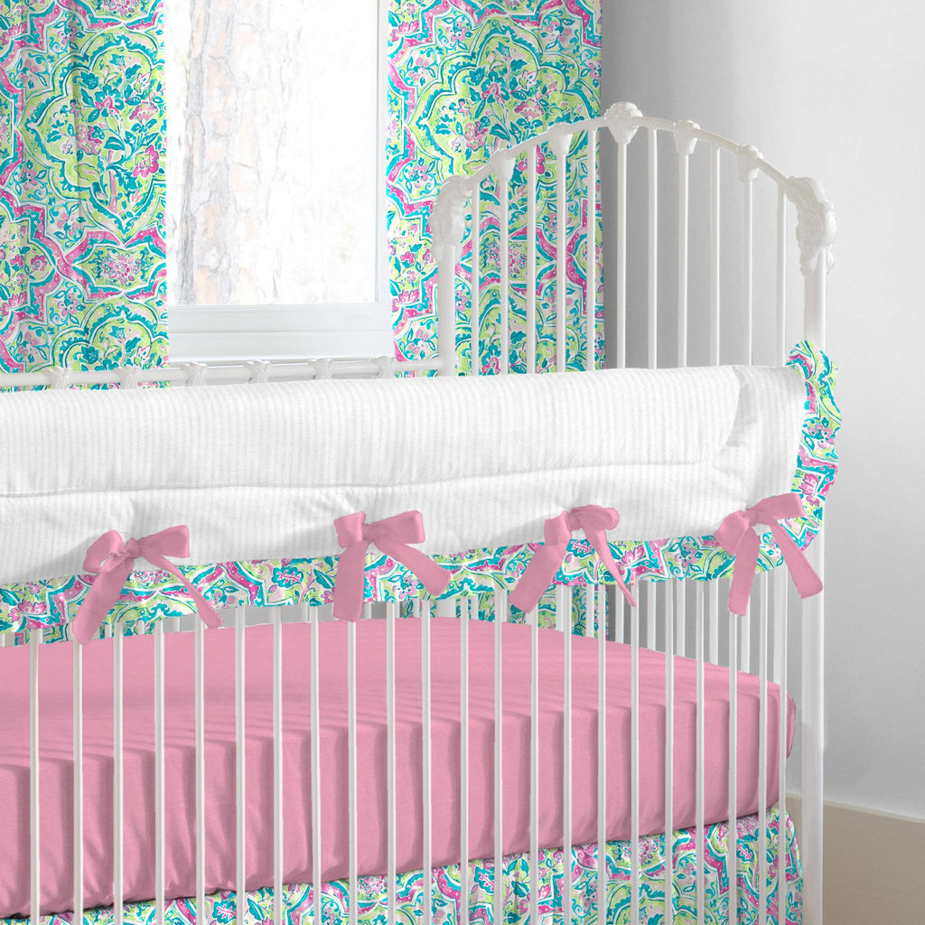 Product image for Pink Watercolor Medallion Crib Rail Cover