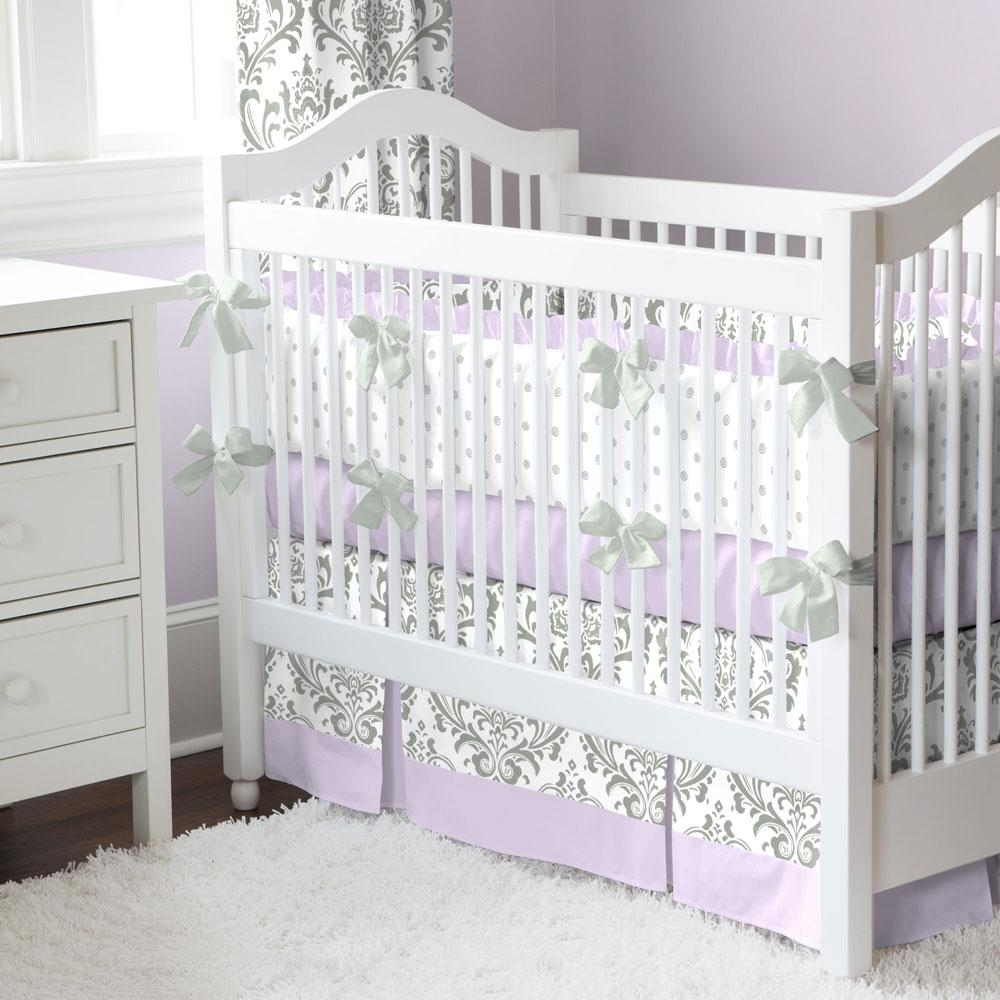 Product image for Cloud Gray Ditsy Dot Crib Bumper