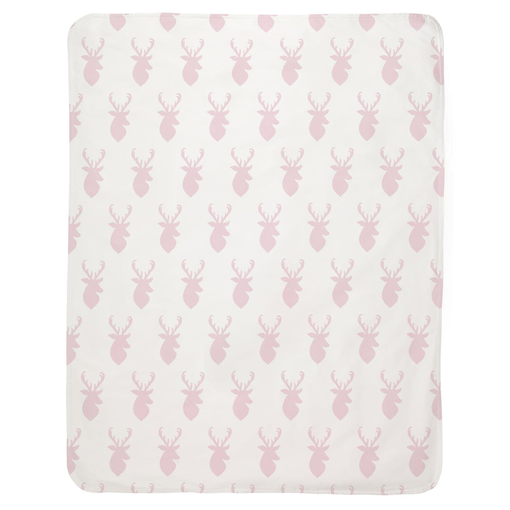 Product image for Pink Deer Head Baby Blanket