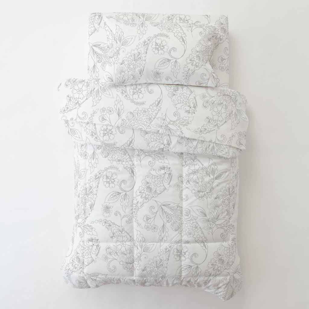 Product image for Cloud Gray Sketchbook Floral Toddler Pillow Case with Pillow Insert