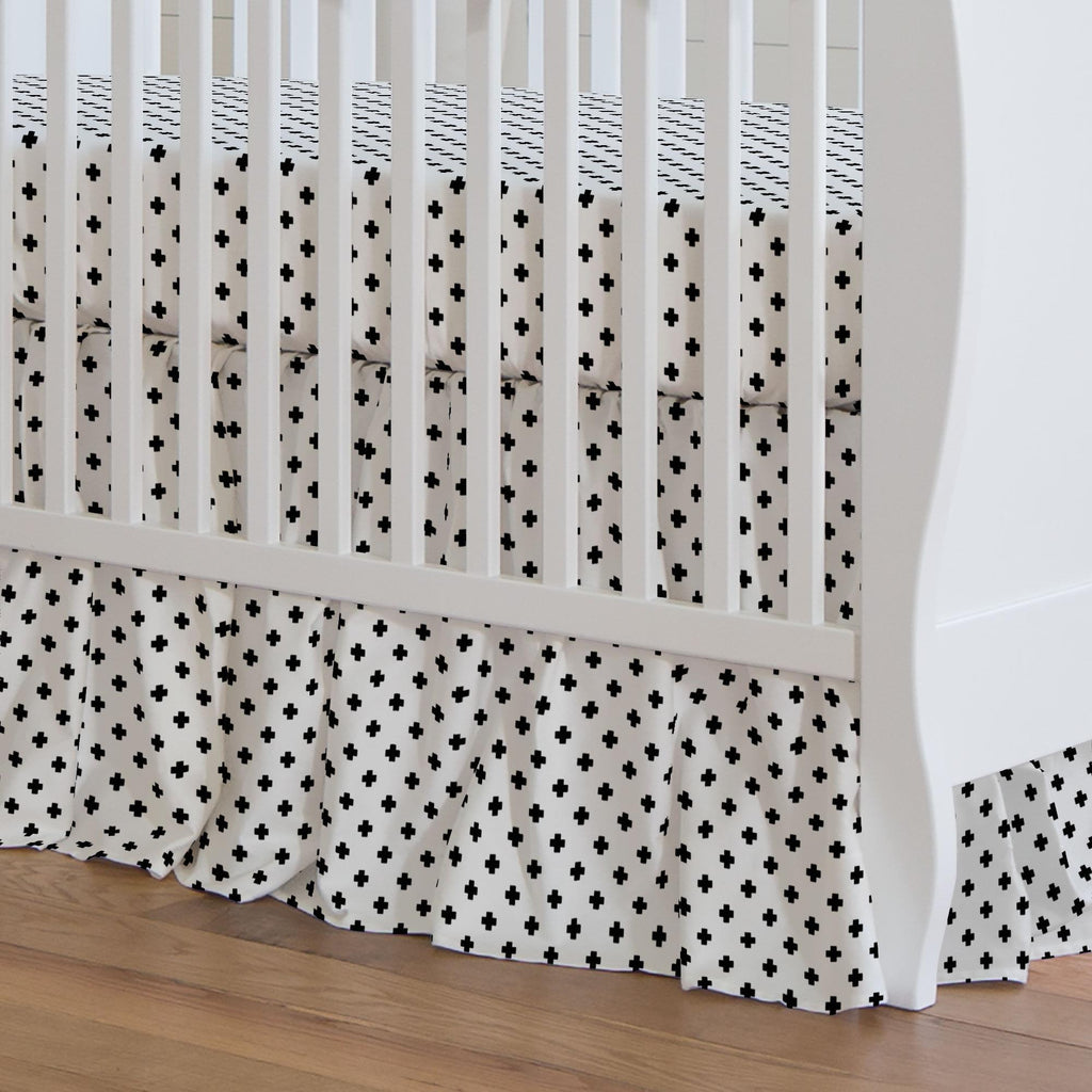Product image for Onyx Mini Swiss Cross Crib Skirt Gathered