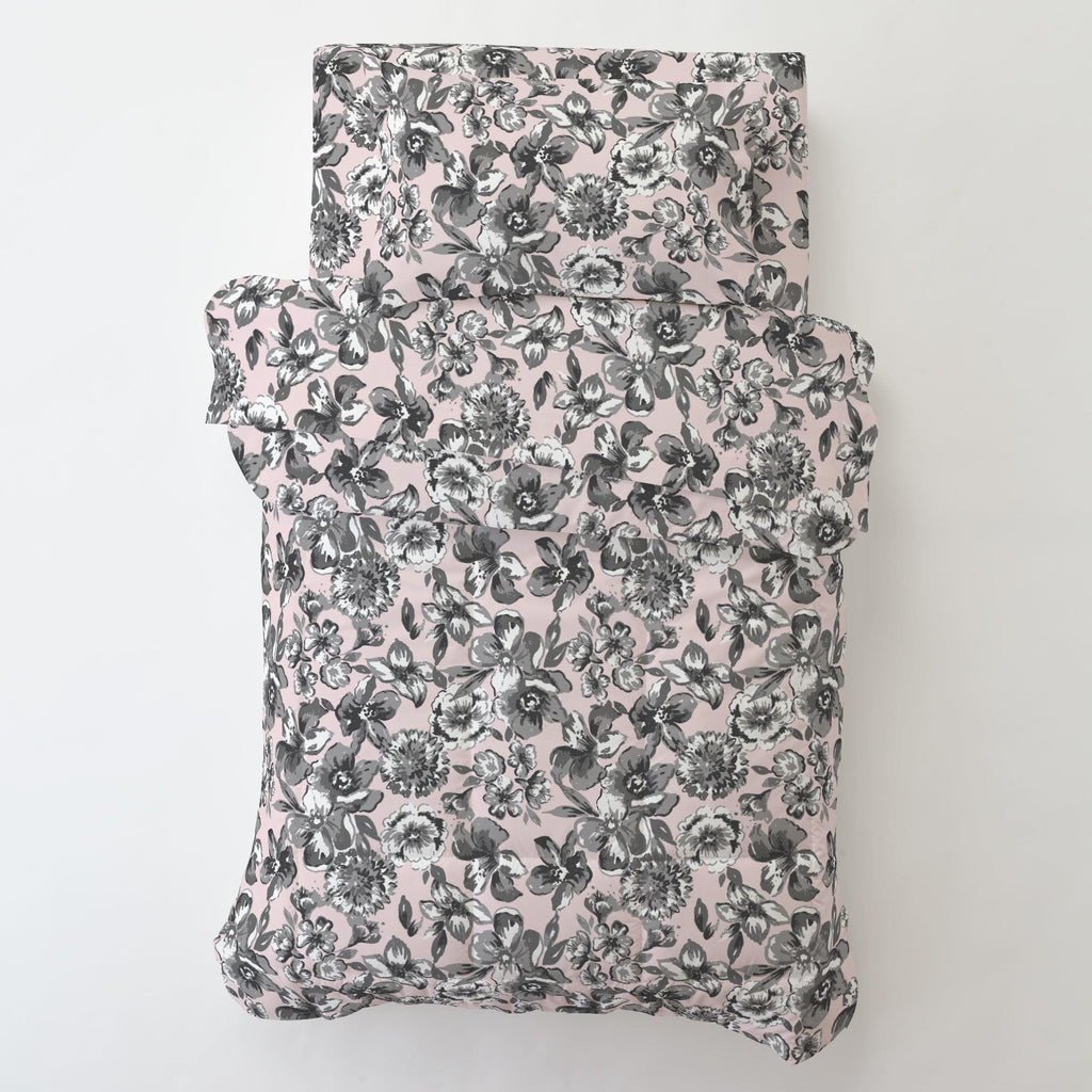 Product image for Pink and Gray Floral Toddler Comforter