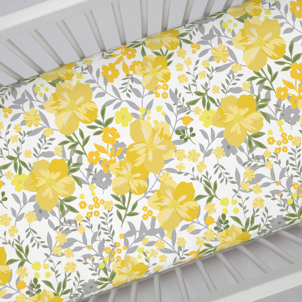 Product image for Yellow Floral Tropic Crib Sheet