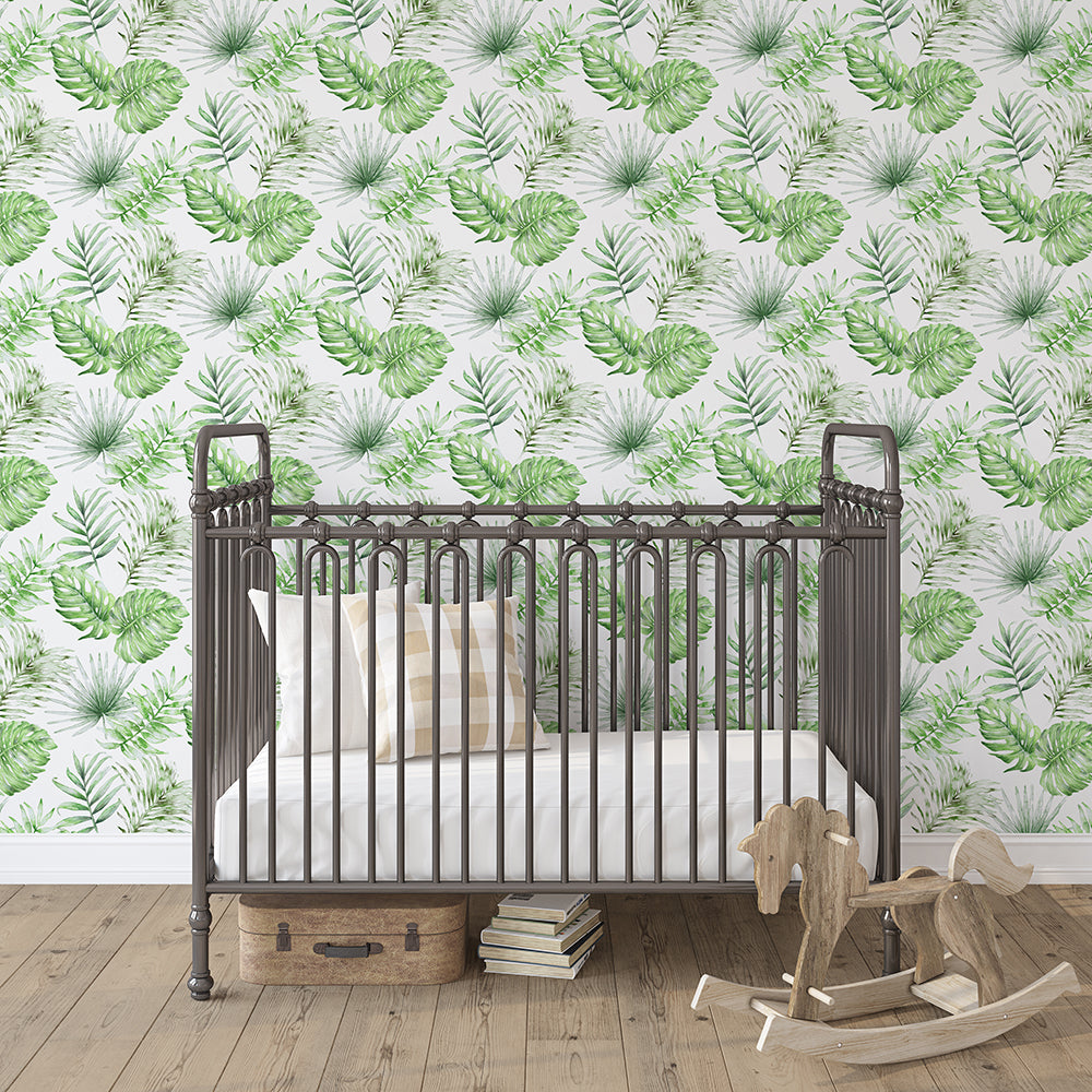 Product image for Green Painted Tropical Wallpaper Panel