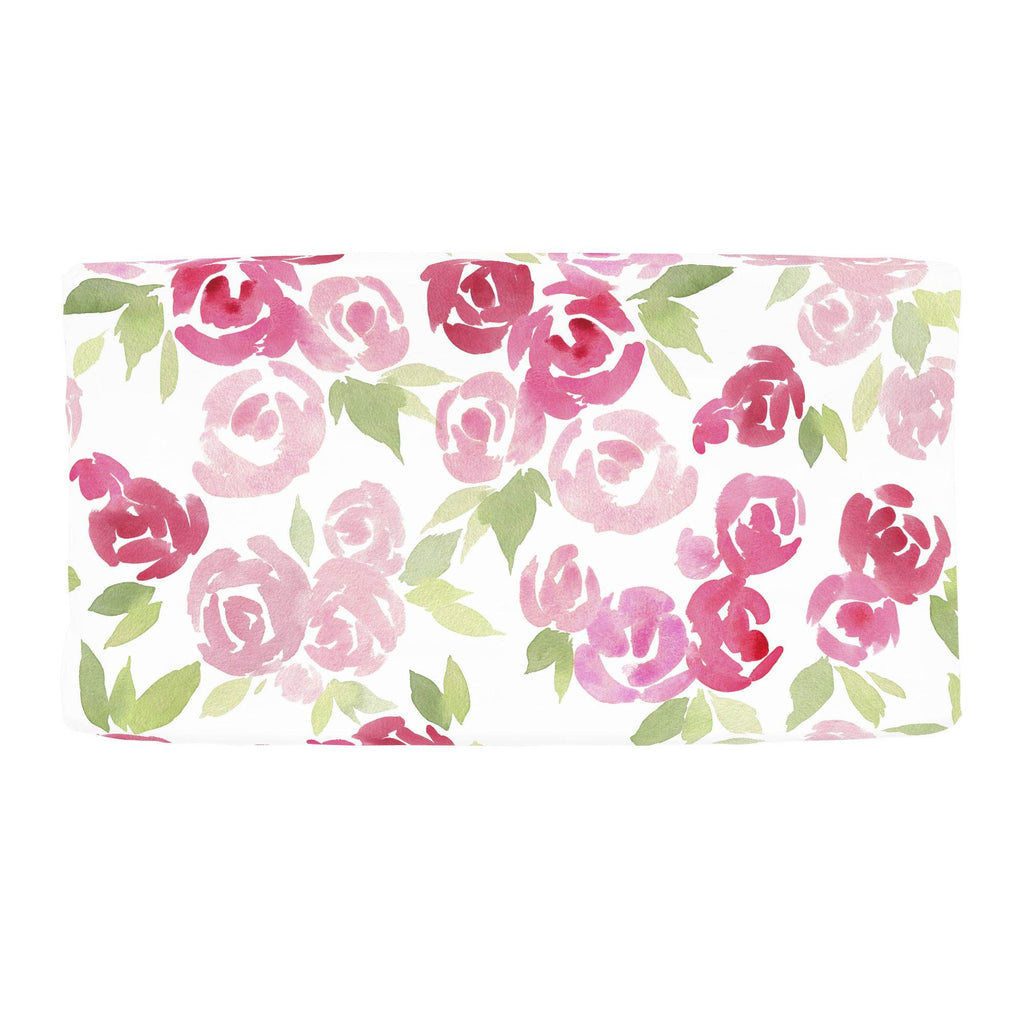 Product image for Watercolor Roses Changing Pad Cover