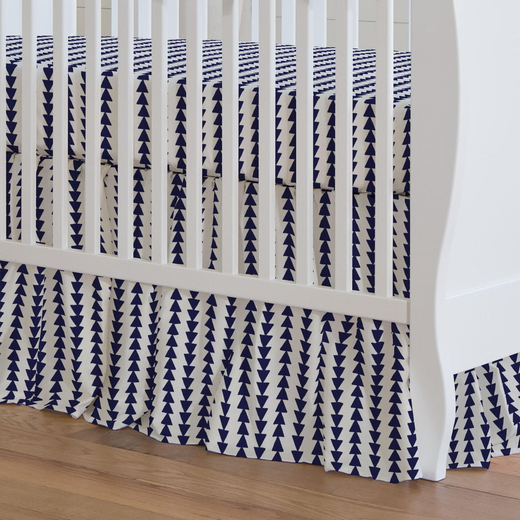 Product image for Windsor Navy Arrow Stripe Crib Skirt Gathered