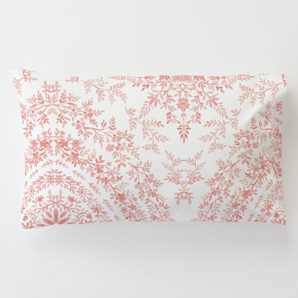 Product image for Light Coral Floral Damask Toddler Pillow Case