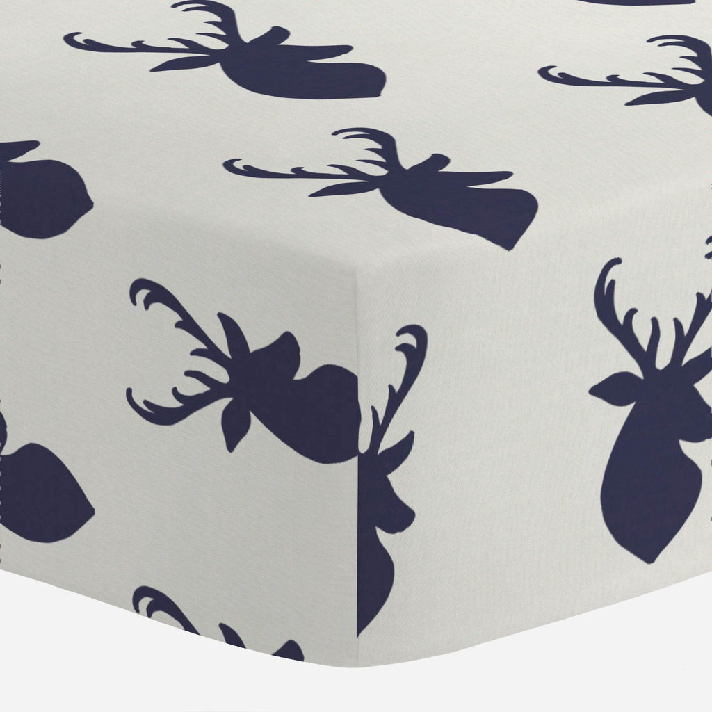 Product image for Windsor Navy Deer Head Mini Crib Sheet