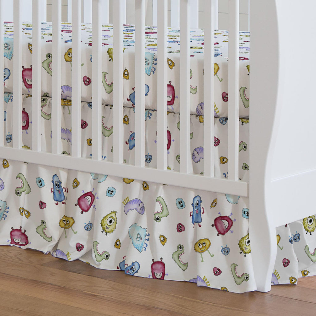 Product image for Watercolor Monsters Crib Skirt Gathered