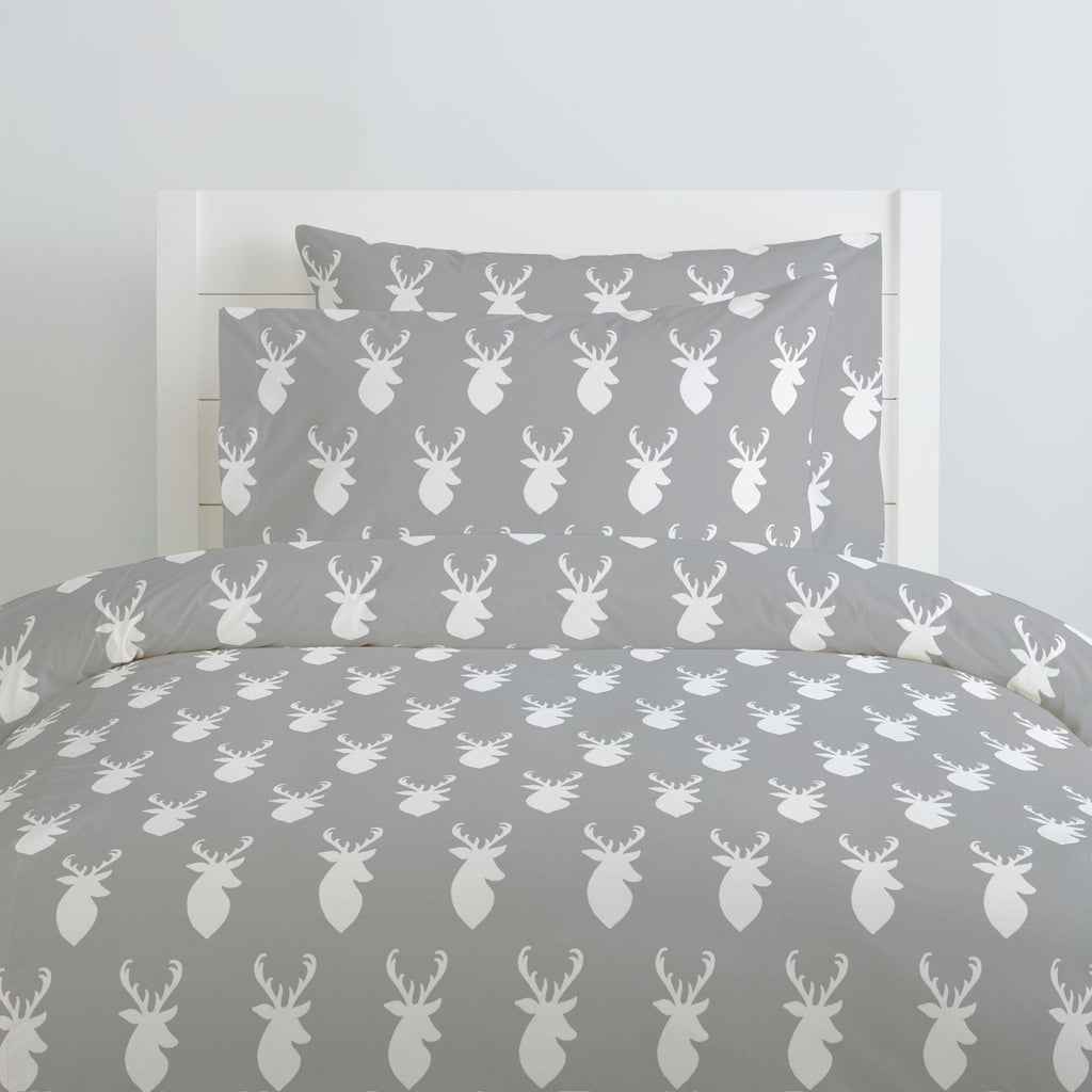 Product image for Silver Gray and White Deer Head Pillow Case