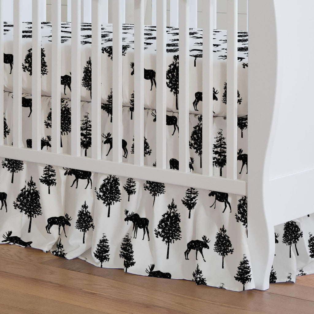 Product image for Onyx Moose Crib Skirt Gathered