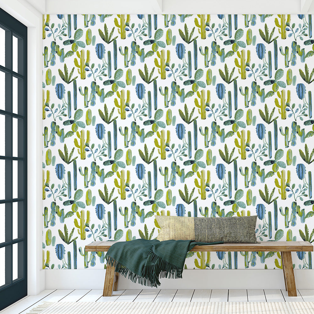 Product image for Blue Painted Cactus Wallpaper Panel