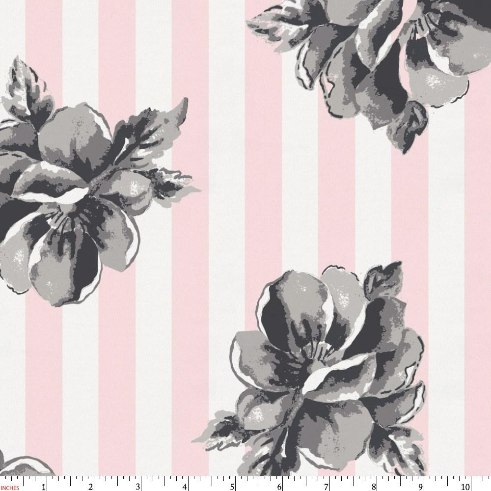 Product image for Pink and Gray Floral Stripe Fabric