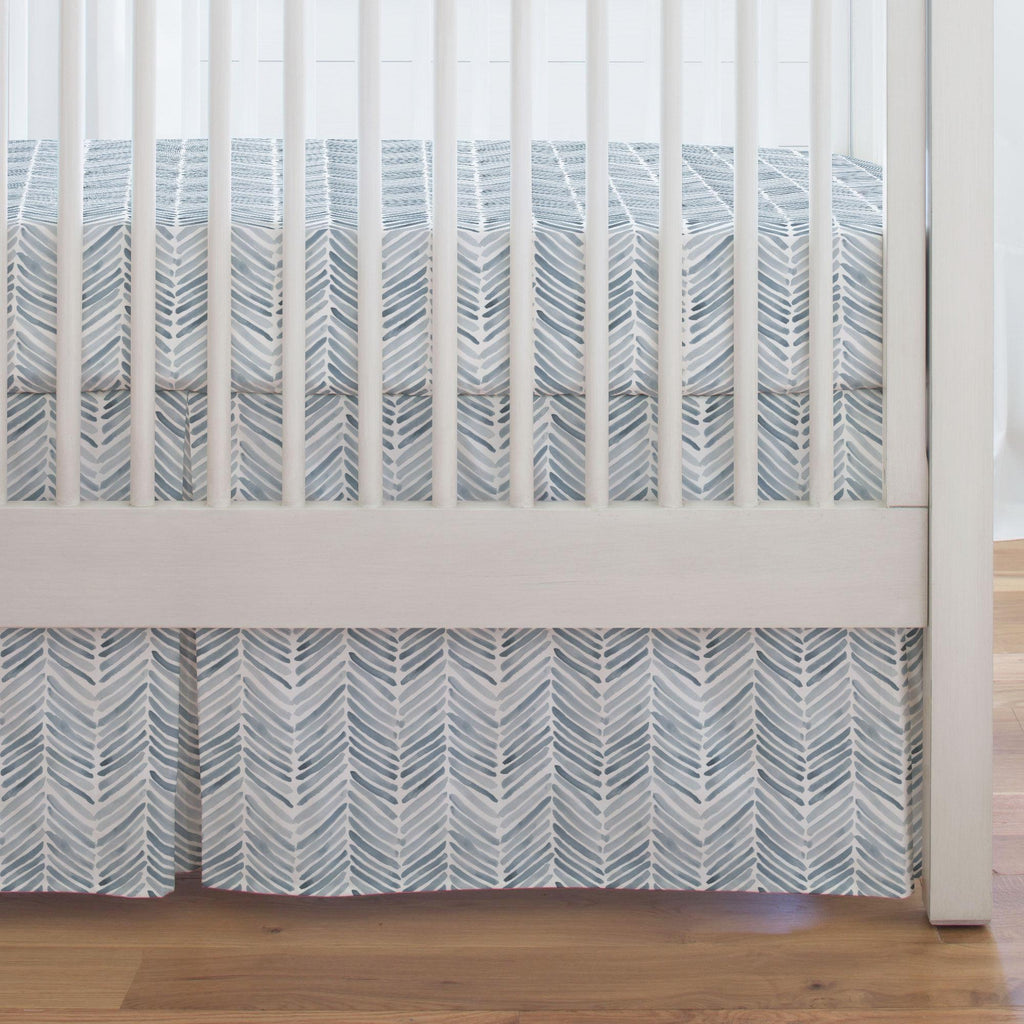 Product image for Steel Blue Painted Chevron Crib Skirt Single-Pleat