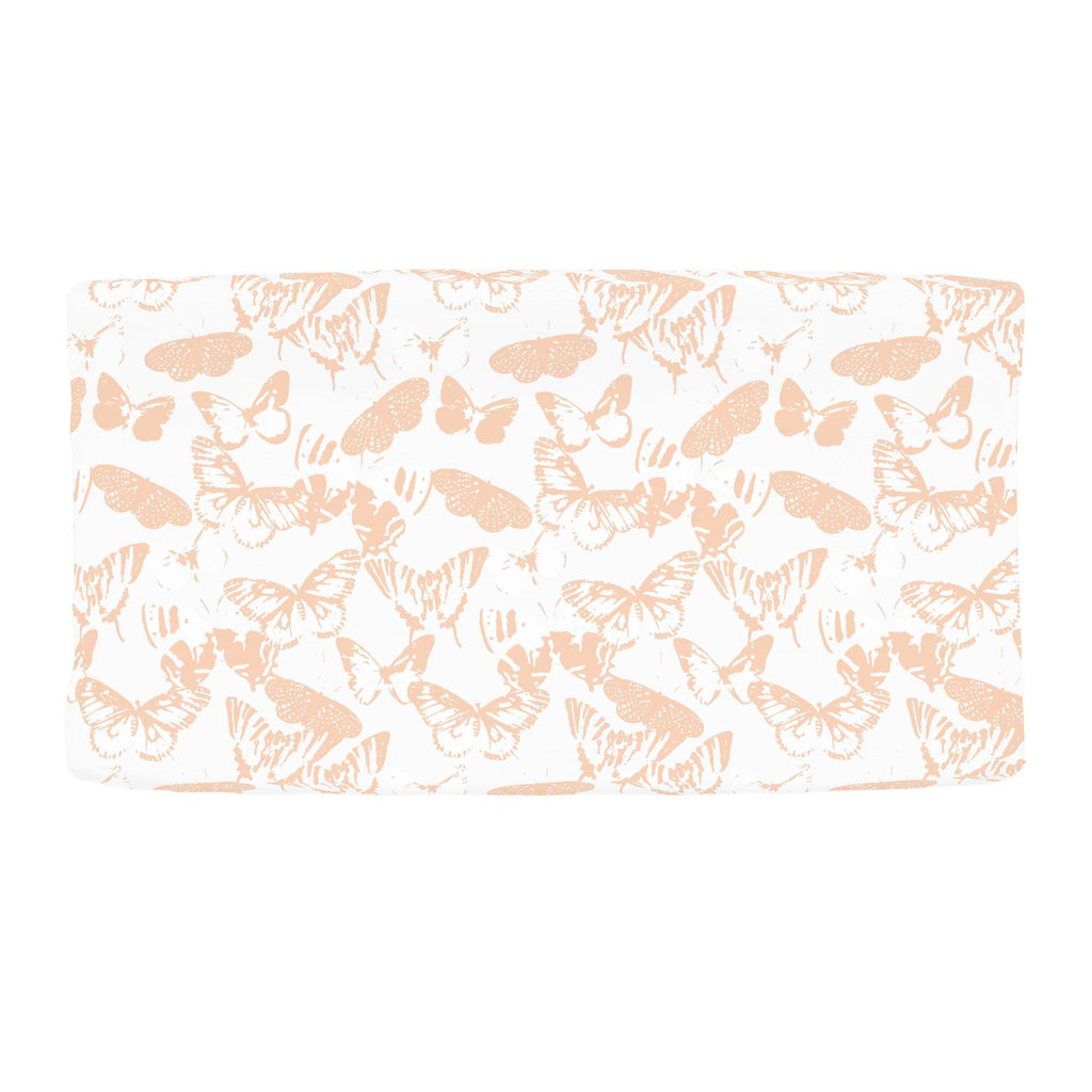 Product image for Peach Modern Butterflies Changing Pad Cover