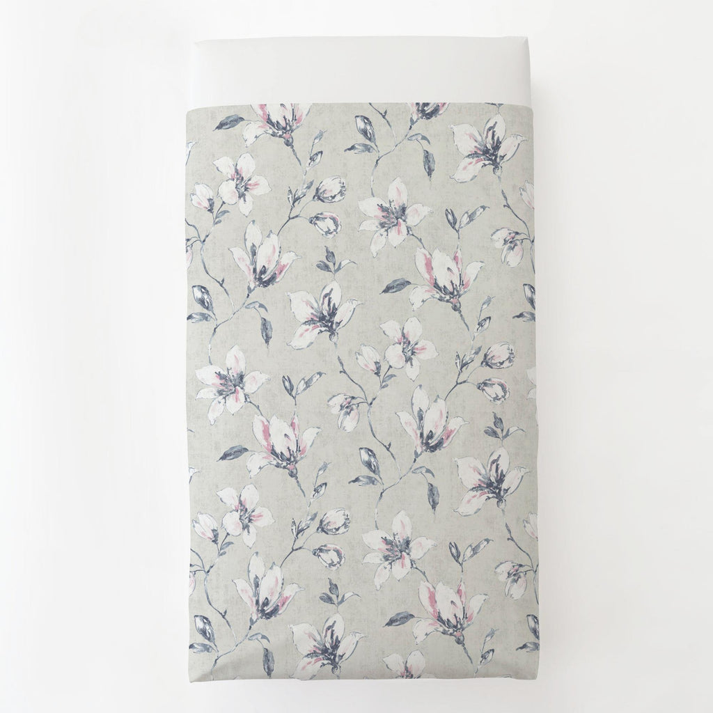 Product image for Pink and Blue Painted Lilies Toddler Sheet Top Flat