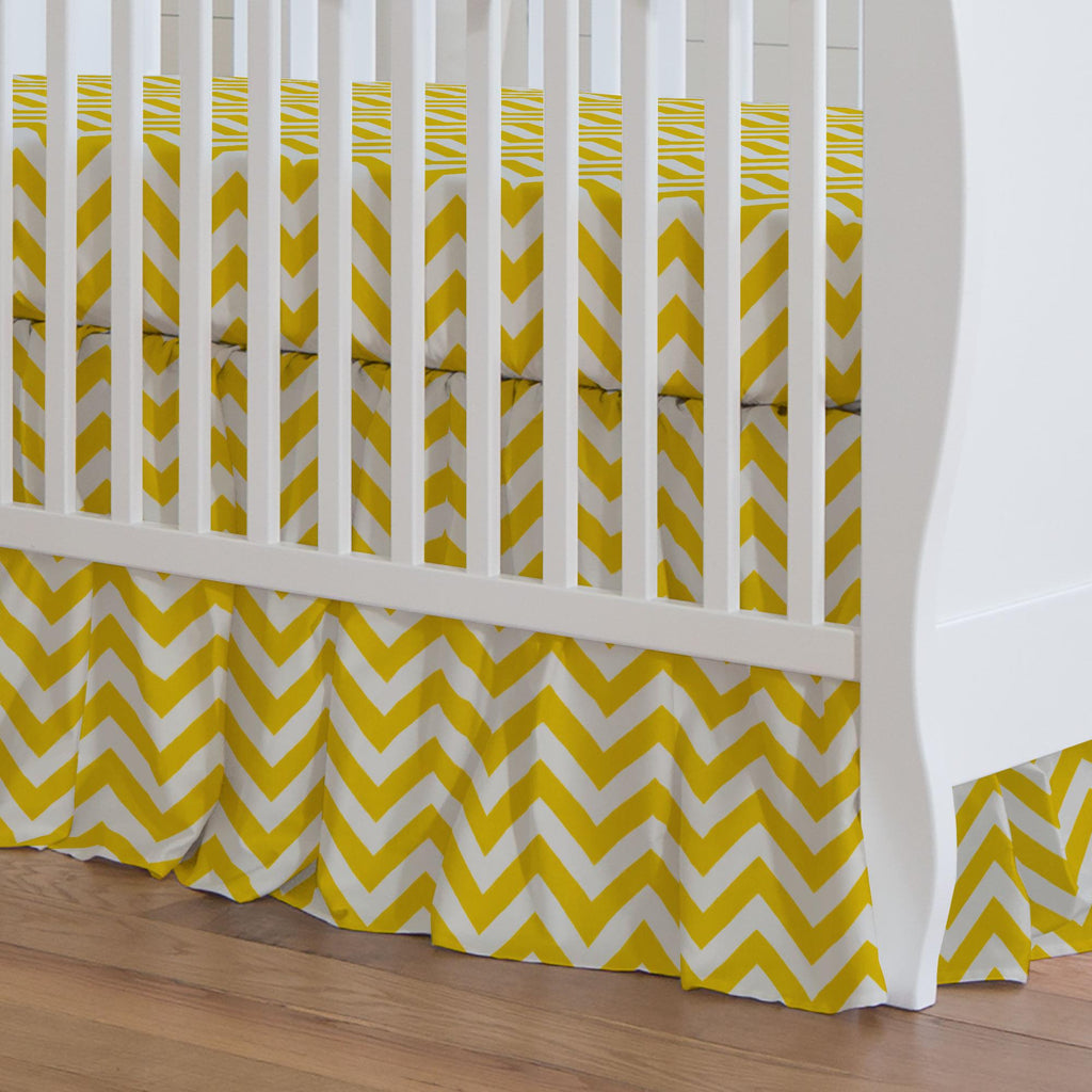 Product image for Yellow Zig Zag Crib Skirt Gathered