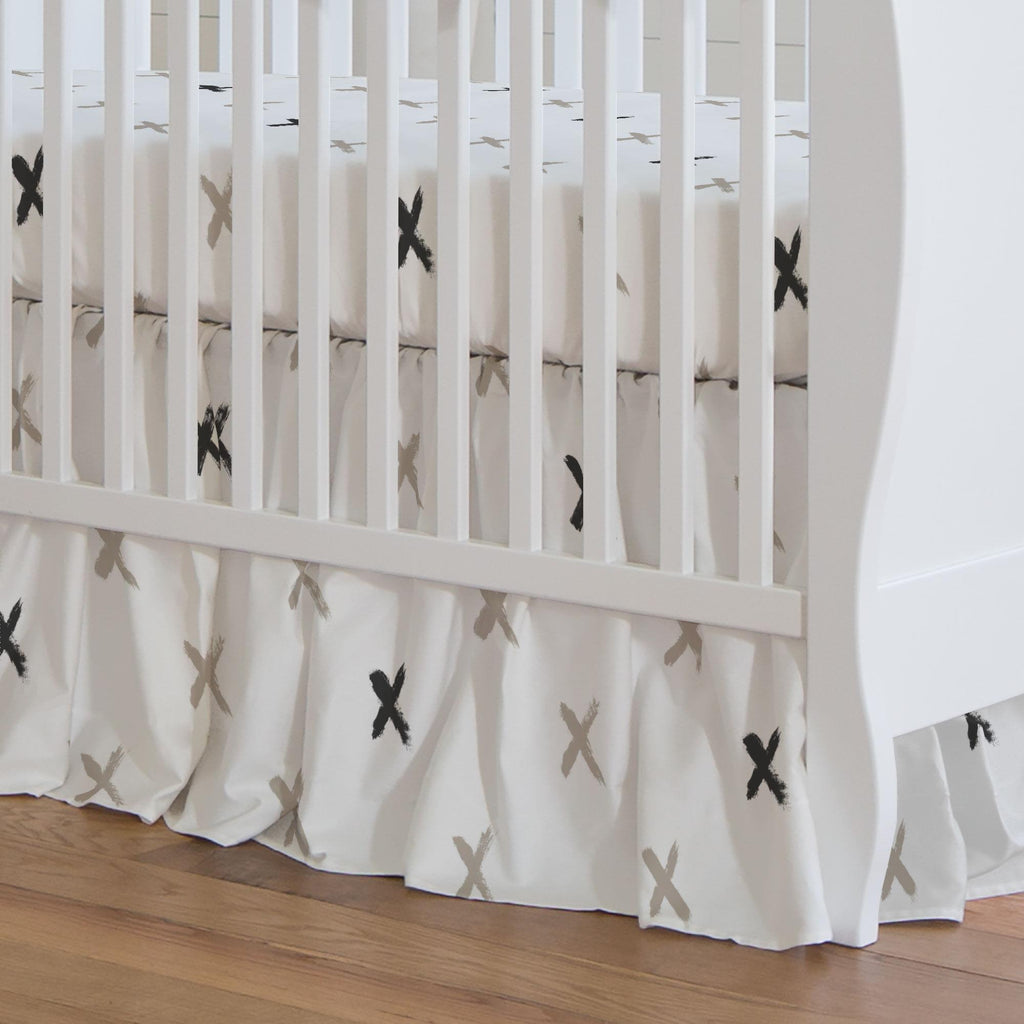 Product image for Taupe and Slate Gray Brush X Crib Skirt Gathered