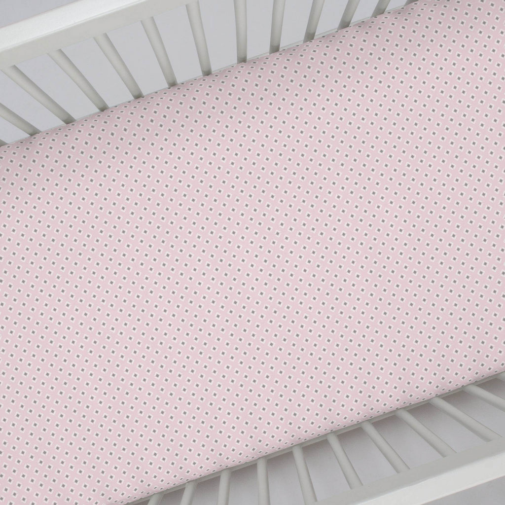 Product image for Pink and Gray Diamond Crib Sheet