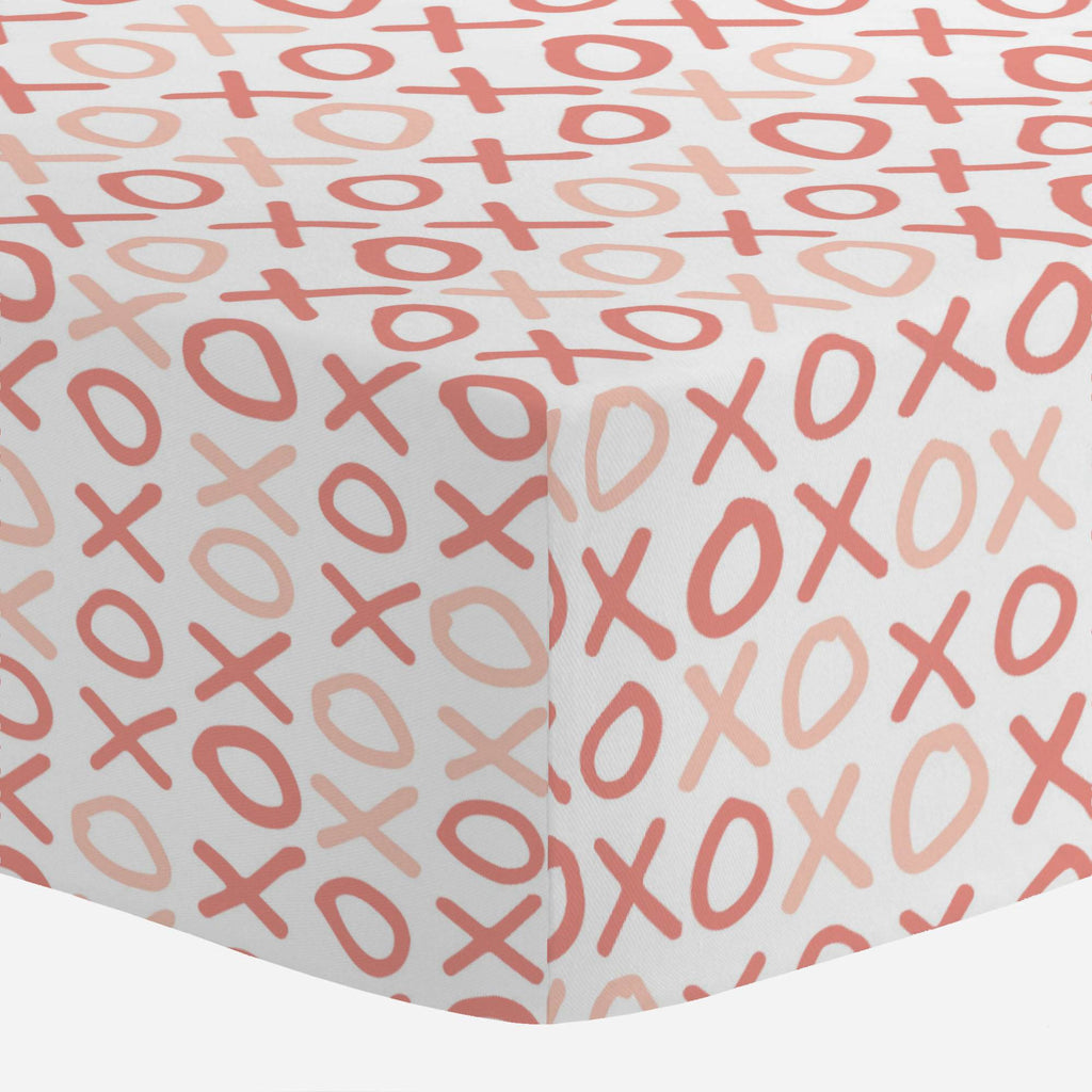 Product image for Light Coral and Peach XO Mini Crib Sheet