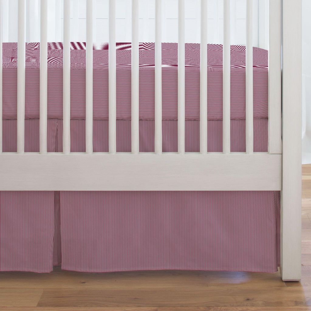 Product image for Maroon Mini Stripe Crib Skirt Single-Pleat