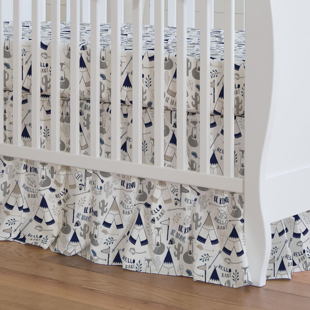 Product image for Navy Brave Fox Crib Skirt Gathered