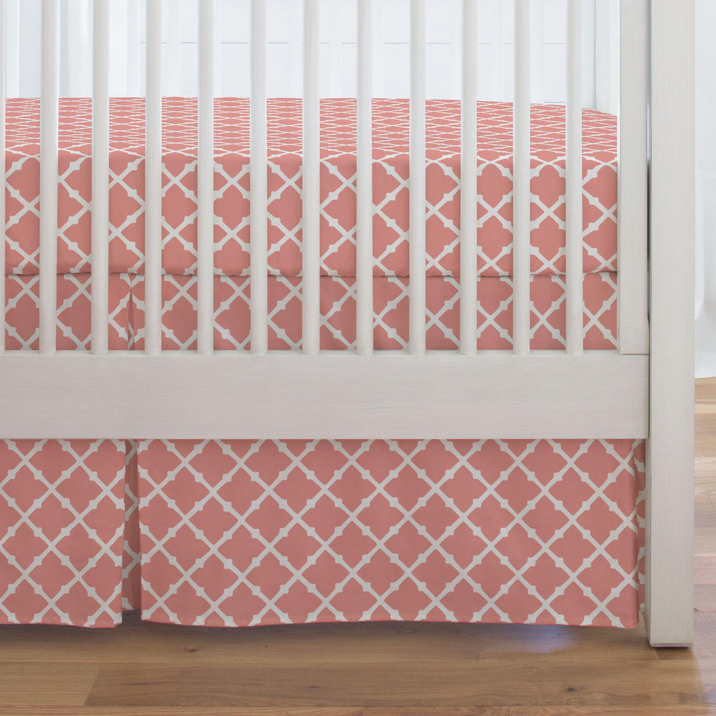 Product image for Light Coral Lattice Crib Skirt Single-Pleat