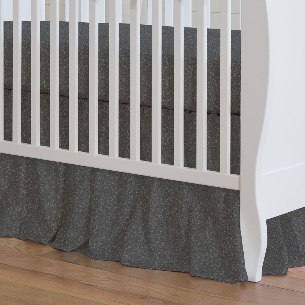 Product image for Dark Gray Heather Crib Skirt Gathered