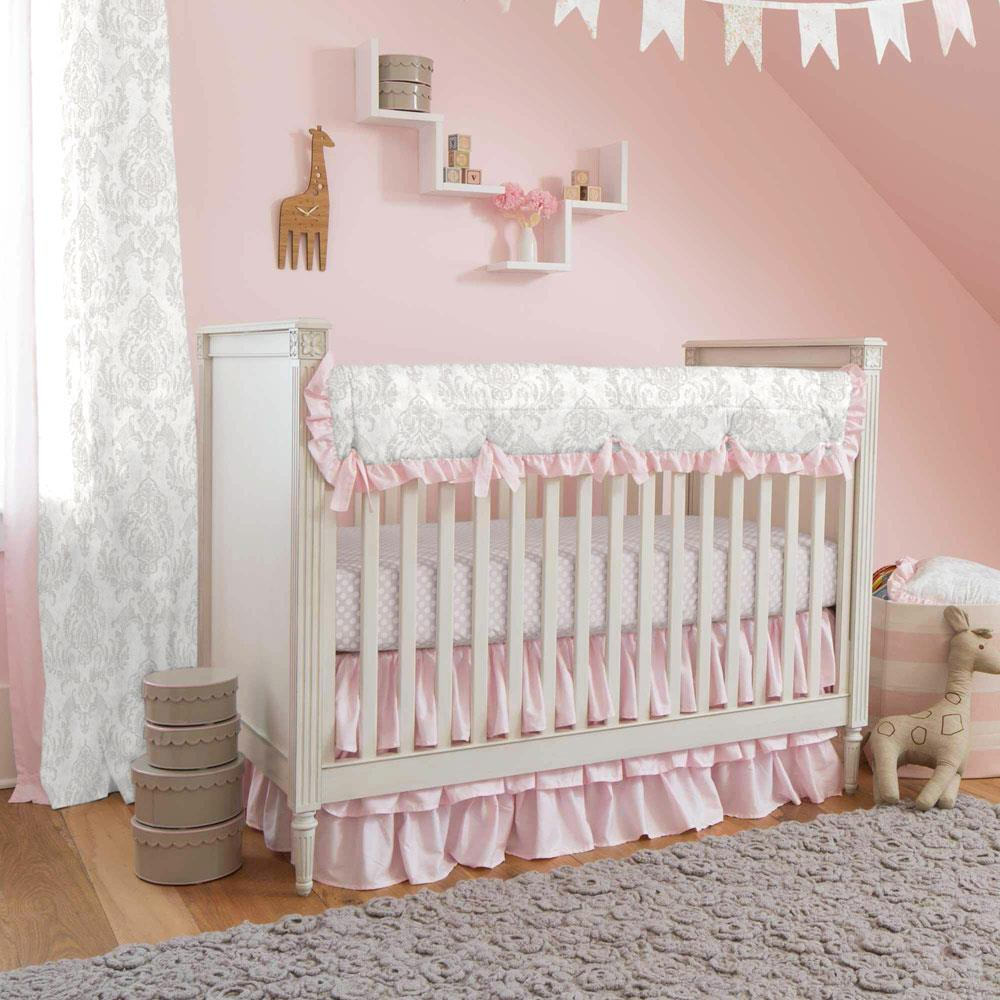 Product image for French Gray Painted Damask Crib Comforter with Ruffle