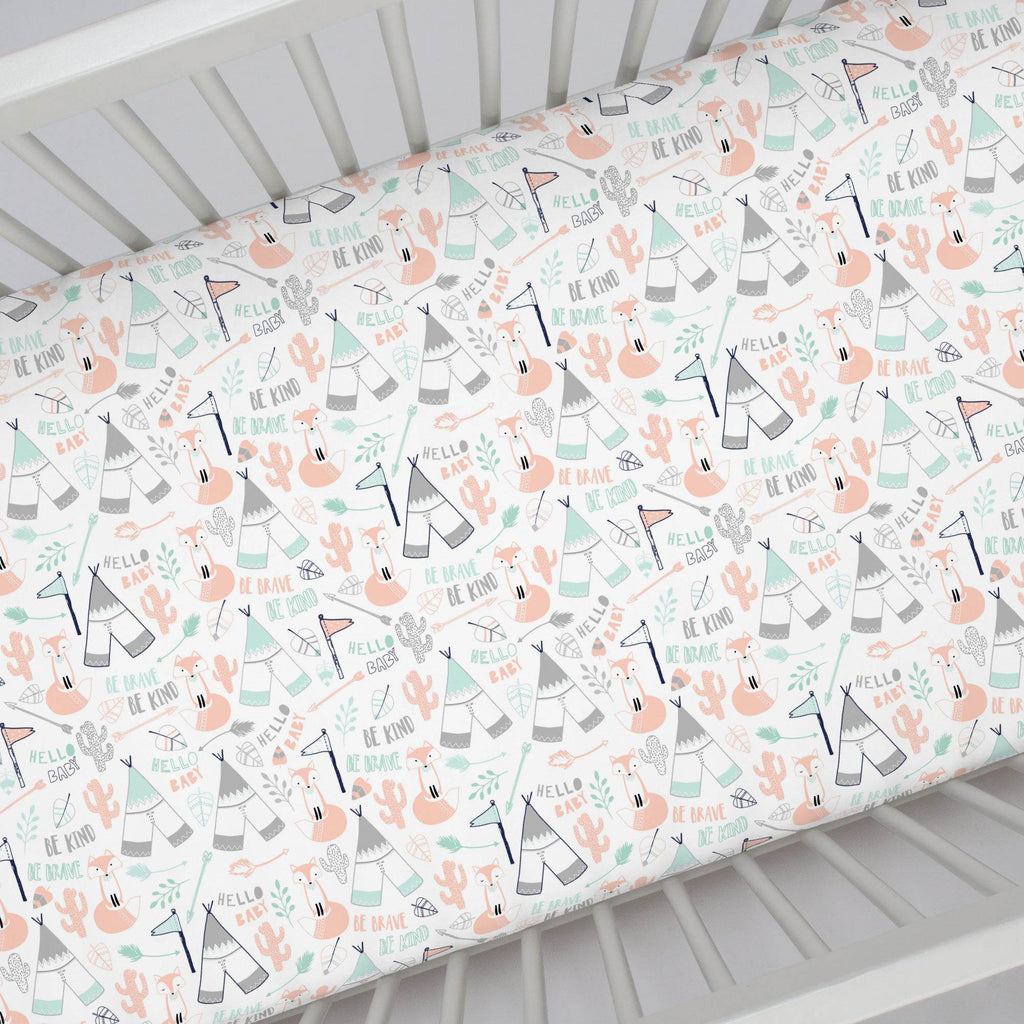 Product image for Peach Brave Fox Crib Sheet