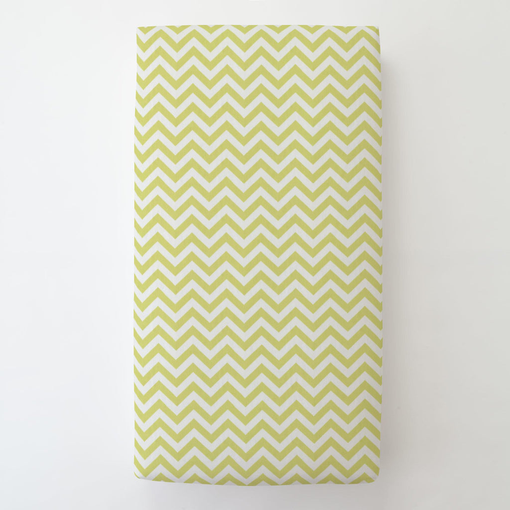 Product image for Light Lime Zig Zag Toddler Sheet Bottom Fitted