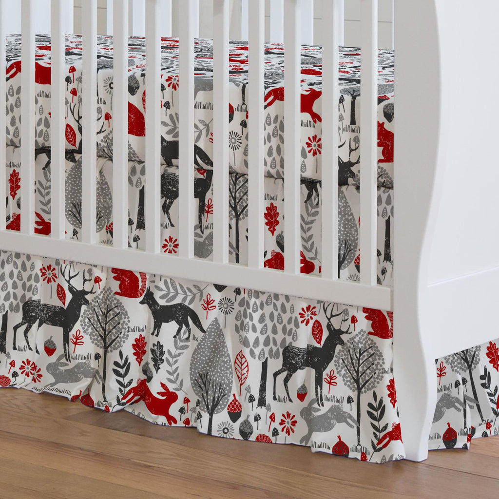 Product image for Red and Gray Woodland Animals Crib Skirt Gathered