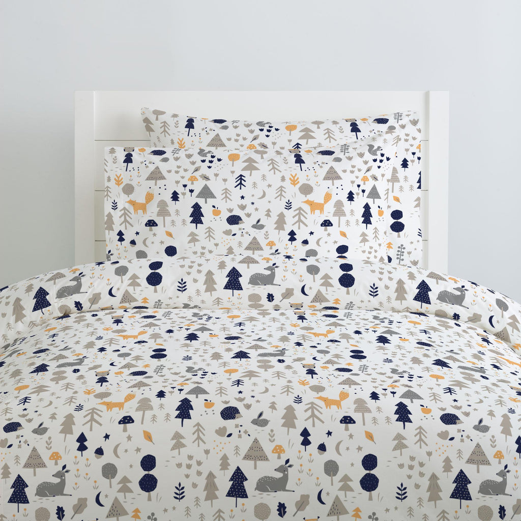Product image for Taupe and Windsor Navy Baby Woodland Pillow Case