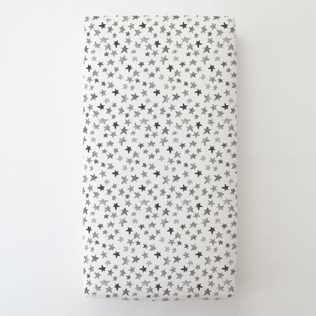 Product image for Gray Watercolor Stars Toddler Sheet Bottom Fitted