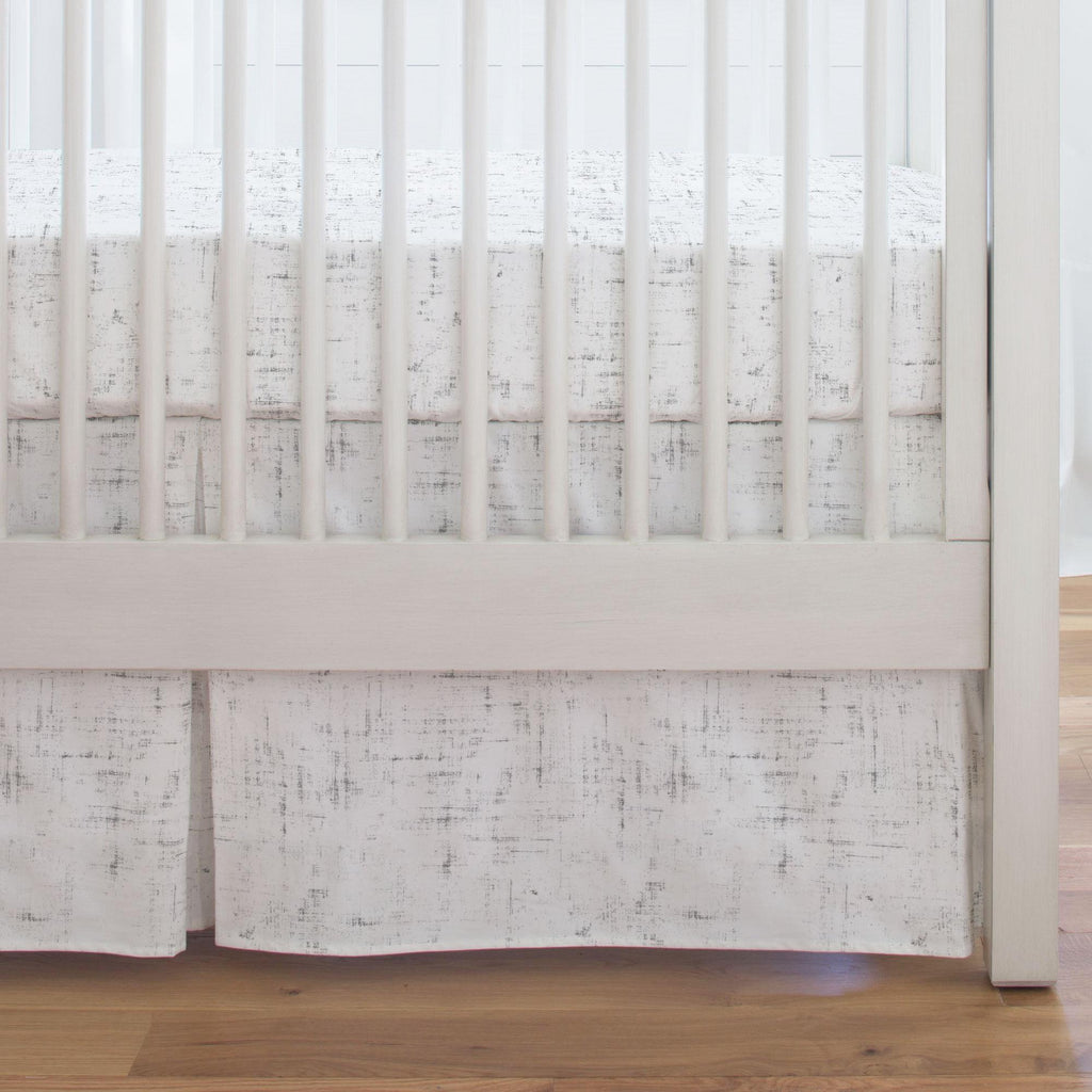 Product image for Cloud Gray Distressed Crib Skirt Single-Pleat