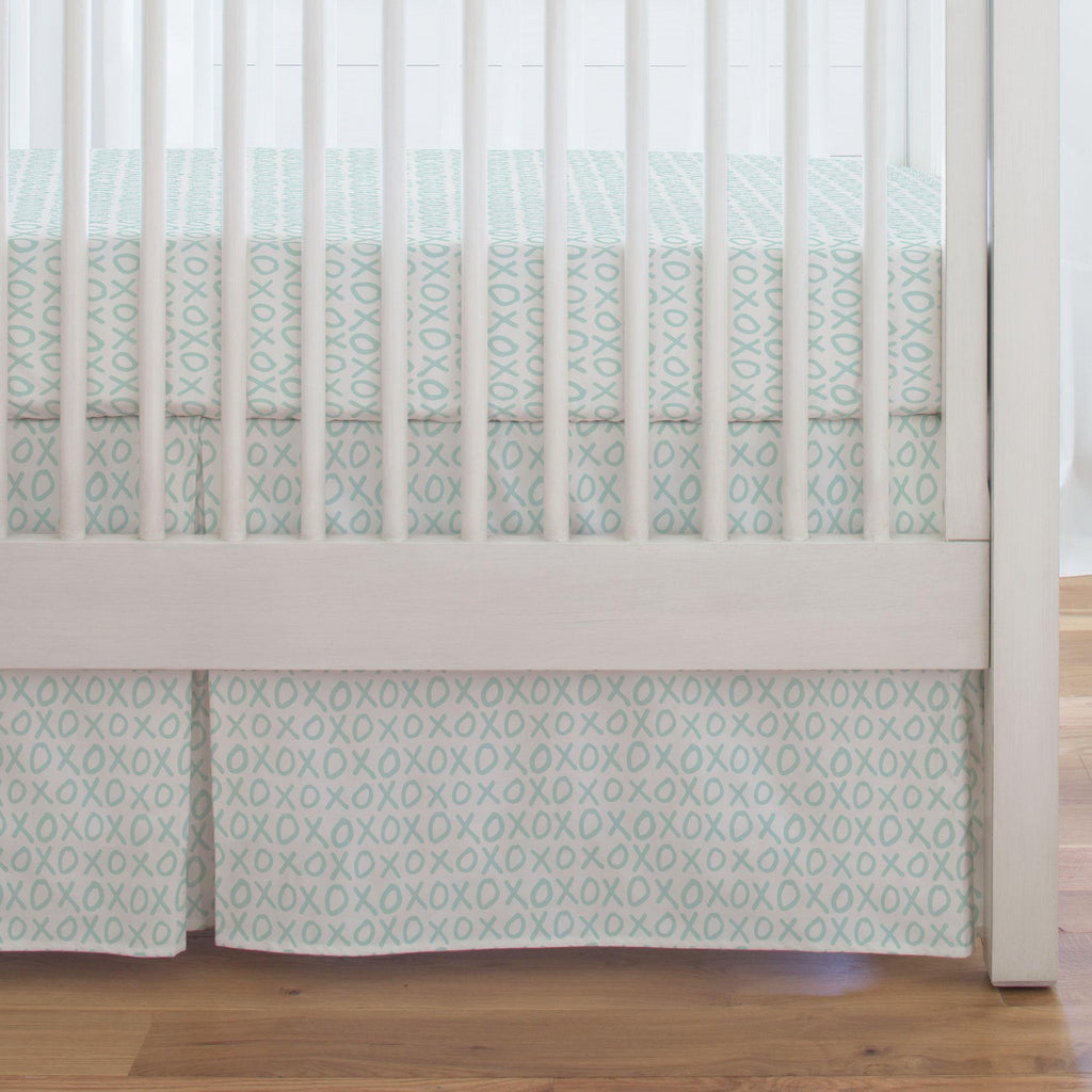 Product image for Icy Mint XO Crib Skirt Single-Pleat