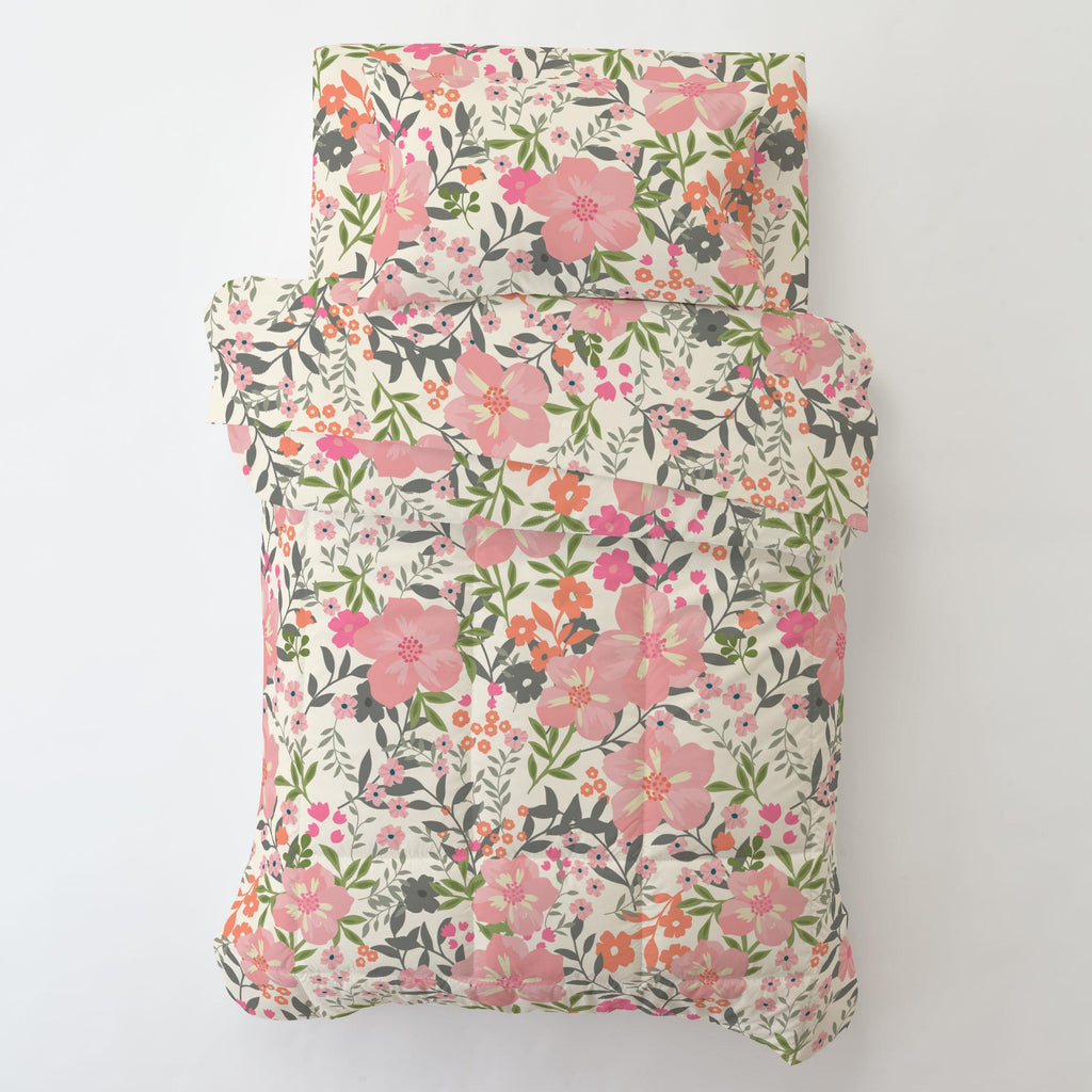 Product image for Pink and Orange Floral Tropic Toddler Comforter