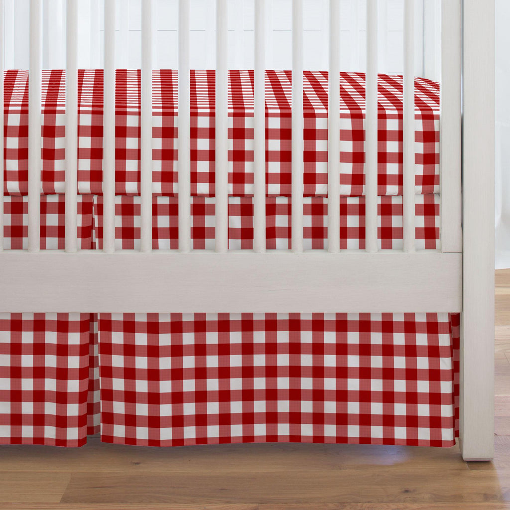 Product image for Red Gingham Crib Skirt Single-Pleat