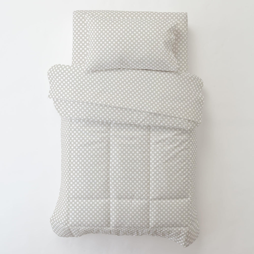 Product image for French Gray and White Dot Toddler Pillow Case with Pillow Insert