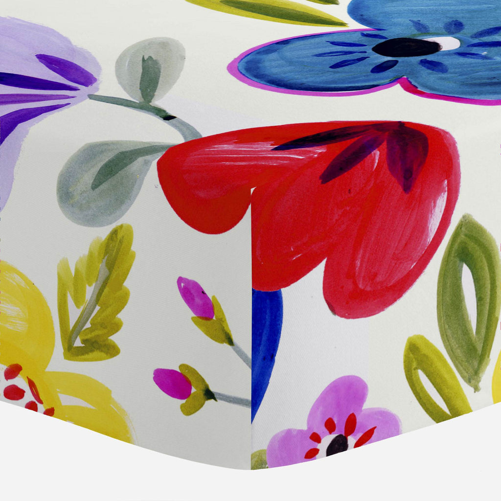 Product image for Primary Painted Flowers Mini Crib Sheet