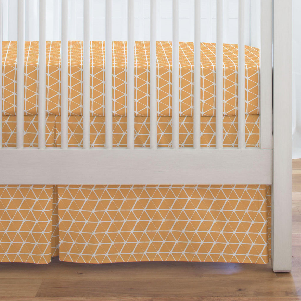 Product image for Light Orange Aztec Triangles Crib Skirt Single-Pleat