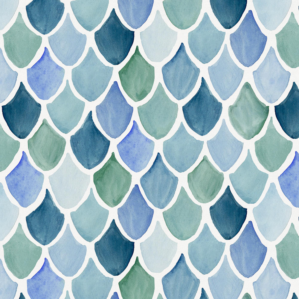 Product image for Blue Watercolor Scales Drape Panel