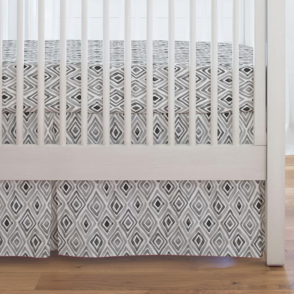 Product image for Gray Painted Diamond Crib Skirt Single-Pleat