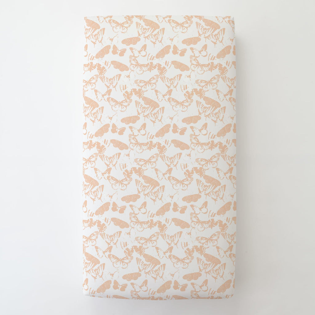 Product image for Peach Modern Butterflies Toddler Sheet Bottom Fitted