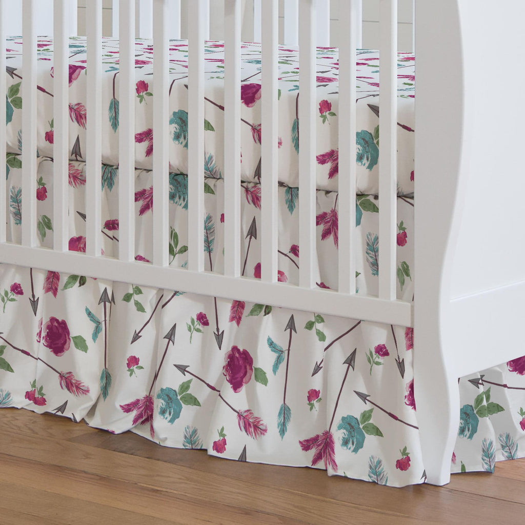 Product image for Floral Arrow Crib Skirt Gathered