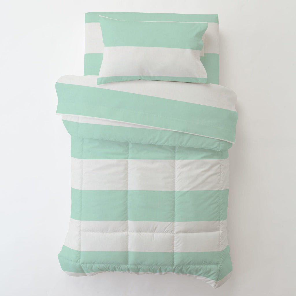Product image for Icy Mint Horizontal Stripe Toddler Pillow Case with Pillow Insert