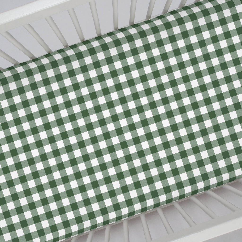 Product image for Evergreen Gingham Crib Sheet