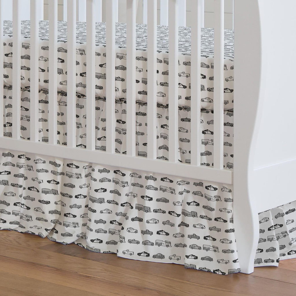 Product image for Gray Modern Cars Crib Skirt Gathered