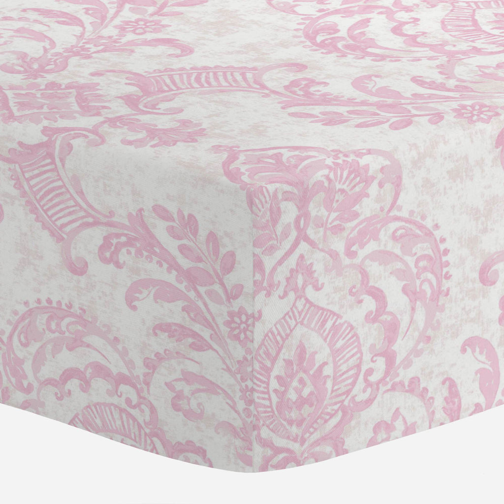 Product image for Pink Painted Damask Mini Crib Sheet