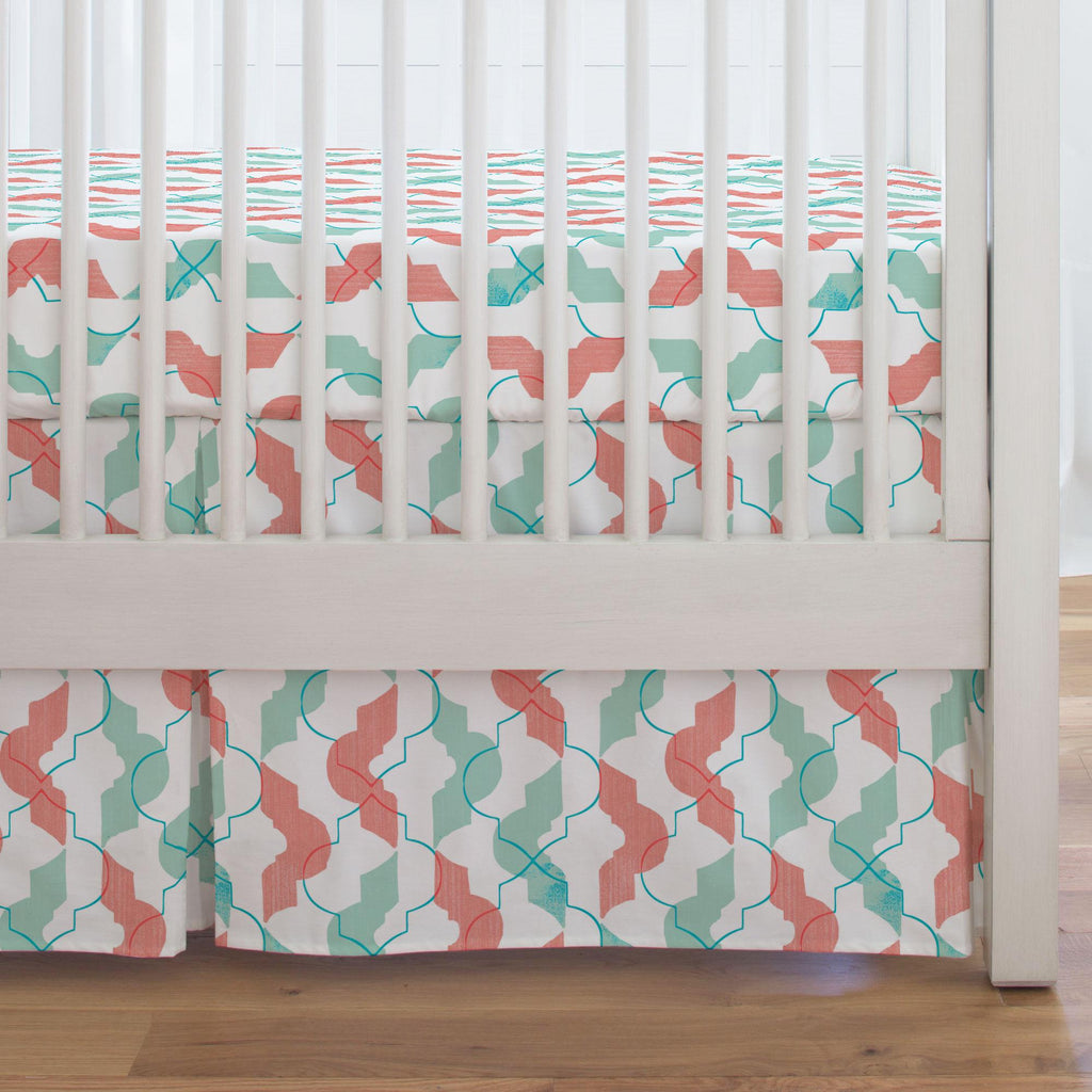 Product image for Coral and Teal Modern Quatrefoil Crib Skirt Single-Pleat